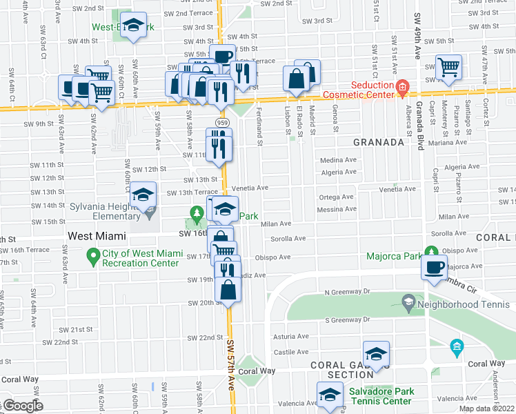 map of restaurants, bars, coffee shops, grocery stores, and more near 1410 Ferdinand Street in Coral Gables