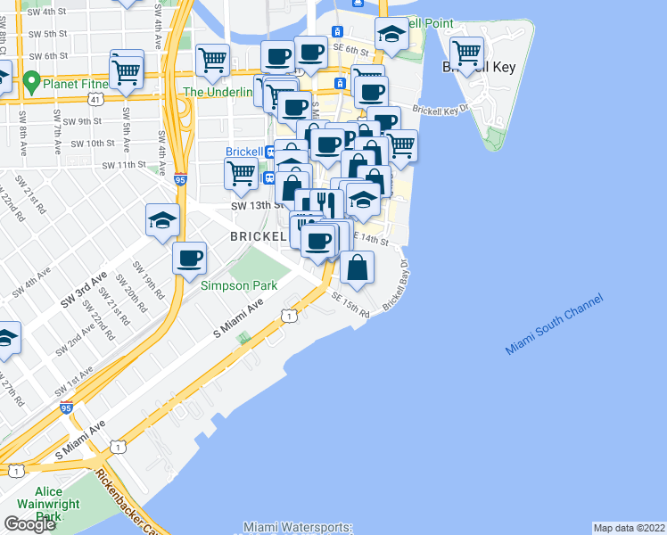 map of restaurants, bars, coffee shops, grocery stores, and more near 1428 Brickell Avenue in Miami