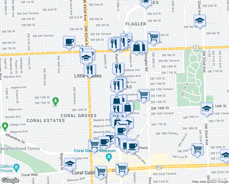 map of restaurants, bars, coffee shops, grocery stores, and more near 1300 Ponce De Leon Boulevard in Coral Gables