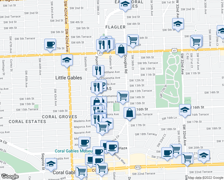 map of restaurants, bars, coffee shops, grocery stores, and more near Sidonia Avenue in Coral Gables