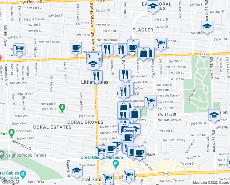 map of restaurants, bars, coffee shops, grocery stores, and more near 235 Sidonia Avenue in Coral Gables