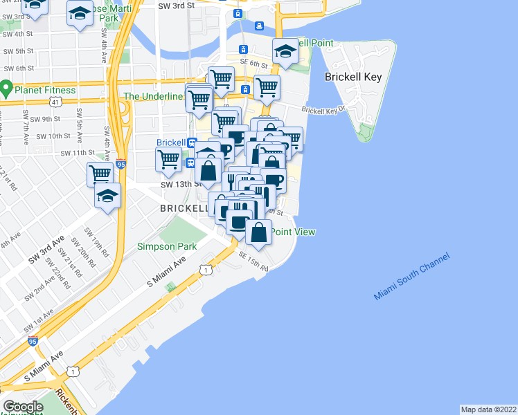 map of restaurants, bars, coffee shops, grocery stores, and more near Southeast 14th Street in Miami