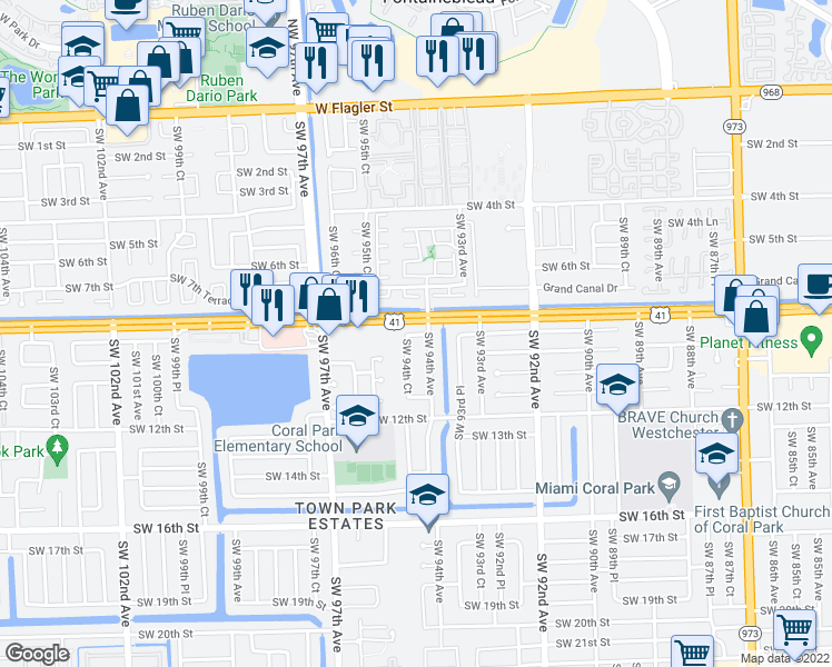 map of restaurants, bars, coffee shops, grocery stores, and more near 9426 Southwest 8th Terrace in Miami