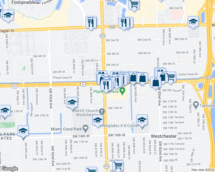 map of restaurants, bars, coffee shops, grocery stores, and more near 8686 Southwest 8th Street in Miami