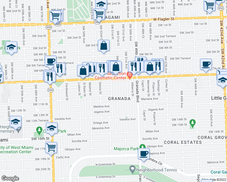 map of restaurants, bars, coffee shops, grocery stores, and more near 837-841 Tangier Street in Coral Gables