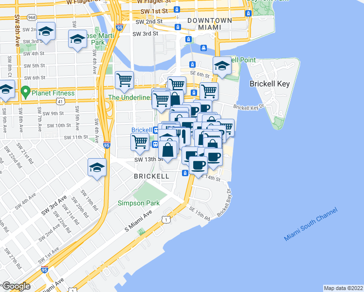 map of restaurants, bars, coffee shops, grocery stores, and more near S Miami Ave & SW 12th St in Miami