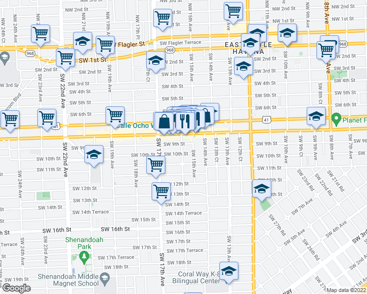 map of restaurants, bars, coffee shops, grocery stores, and more near 1536 Southwest 9th Street in Miami