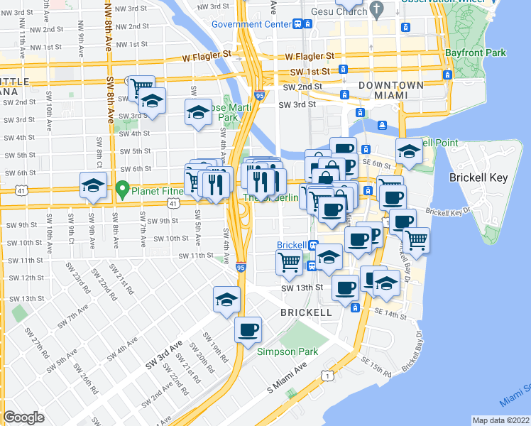 map of restaurants, bars, coffee shops, grocery stores, and more near 885 Southwest 3rd Avenue in Miami