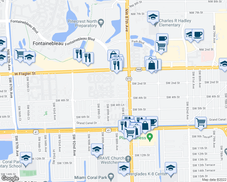 map of restaurants, bars, coffee shops, grocery stores, and more near 8826 West Flagler Street in Miami