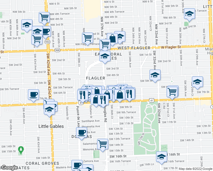 map of restaurants, bars, coffee shops, grocery stores, and more near 3659 Southwest 5th Terrace in Miami
