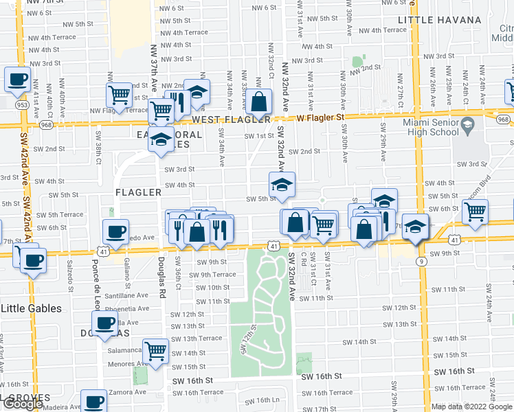 map of restaurants, bars, coffee shops, grocery stores, and more near 3255 Southwest 6th Street in Miami