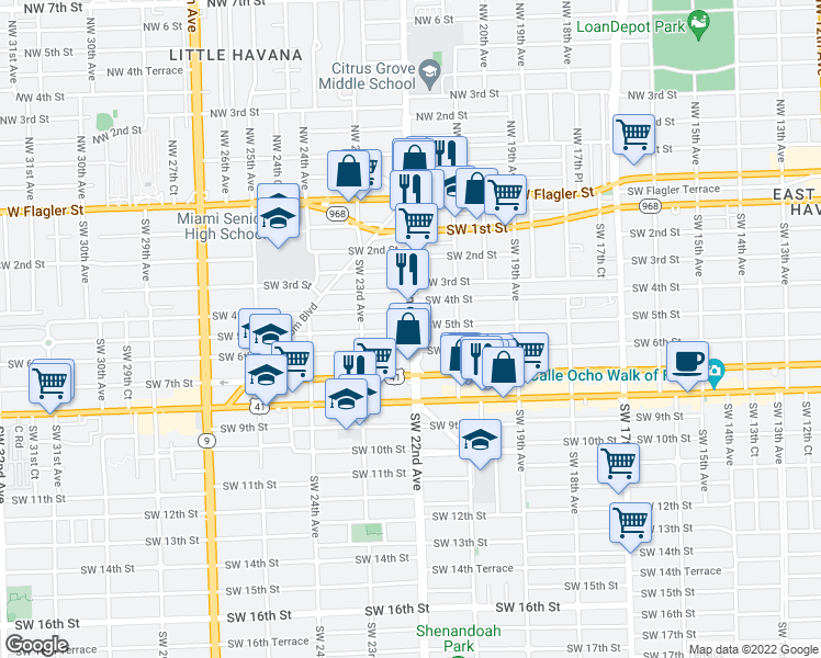 map of restaurants, bars, coffee shops, grocery stores, and more near 514 Southwest 22nd Avenue in Miami
