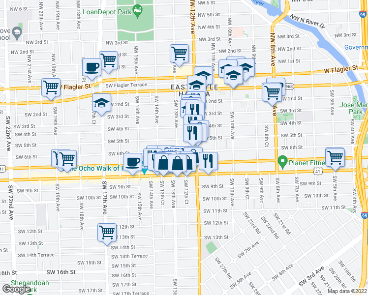 map of restaurants, bars, coffee shops, grocery stores, and more near 1255 Southwest 6th Street in Miami
