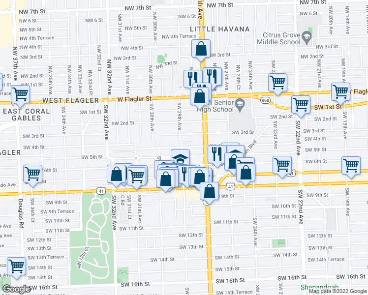map of restaurants, bars, coffee shops, grocery stores, and more near 357-399 Southwest 29th Avenue in Miami