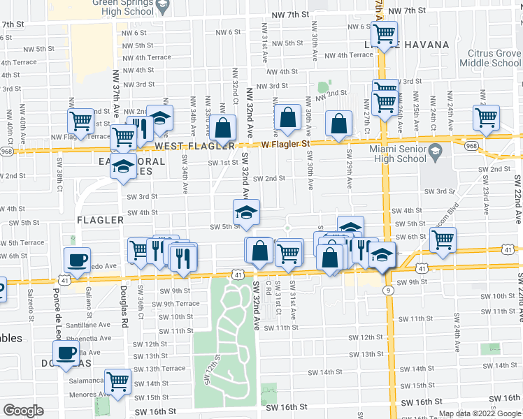 map of restaurants, bars, coffee shops, grocery stores, and more near 3160-3170 Southwest 4th Street in Miami