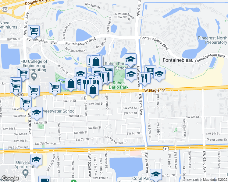 map of restaurants, bars, coffee shops, grocery stores, and more near 9897 West Flagler Street in Miami