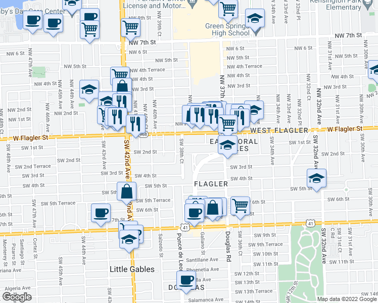 map of restaurants, bars, coffee shops, grocery stores, and more near 200 Southwest 38th Court in Coral Gables