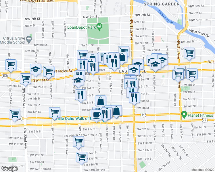 map of restaurants, bars, coffee shops, grocery stores, and more near 1421 Southwest 3rd Street in Miami