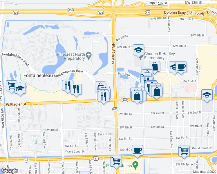 map of restaurants, bars, coffee shops, grocery stores, and more near 204 Fontainebleau Boulevard in Miami