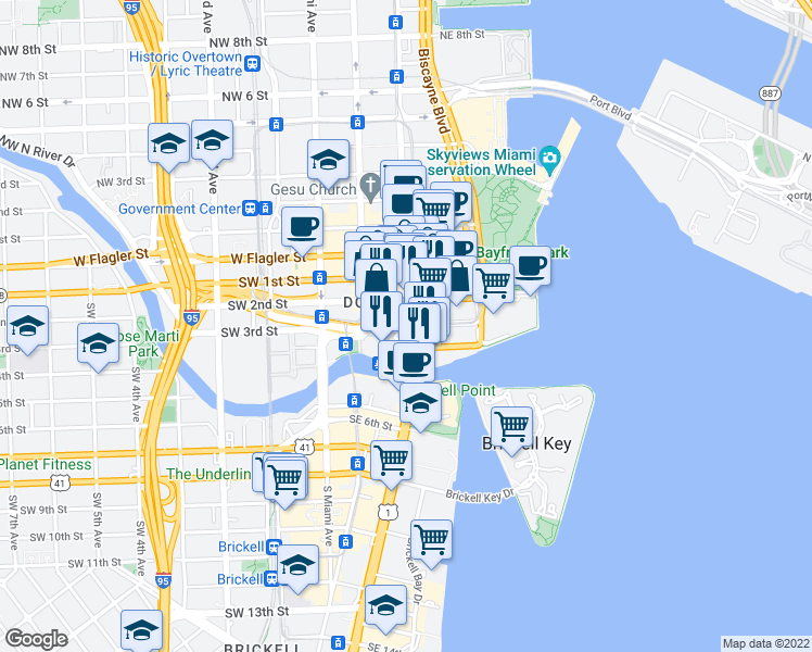 map of restaurants, bars, coffee shops, grocery stores, and more near 333 Southeast 3rd Street in Miami