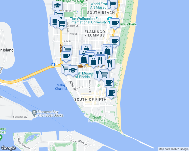 map of restaurants, bars, coffee shops, grocery stores, and more near 328 Euclid Avenue in Miami Beach
