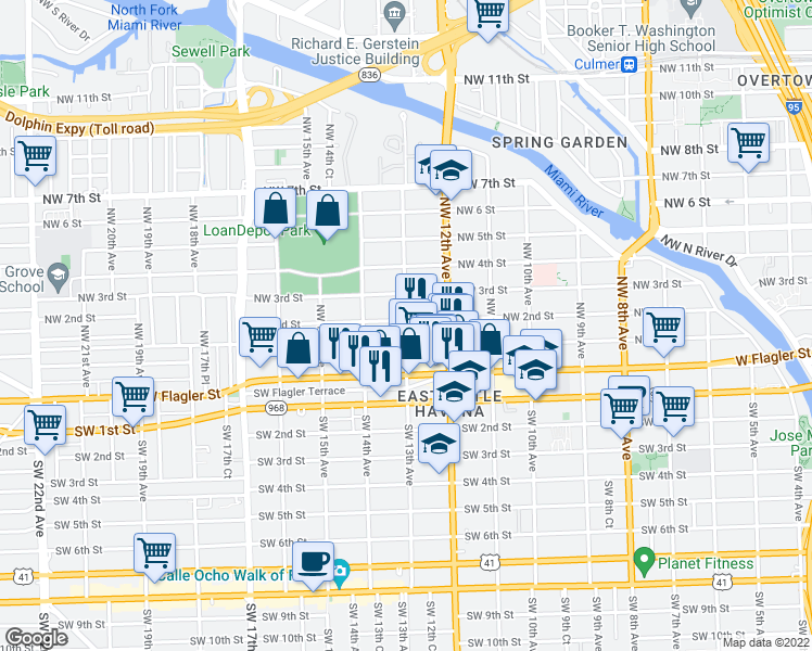 map of restaurants, bars, coffee shops, grocery stores, and more near 1328 Northwest 3rd Street in Miami
