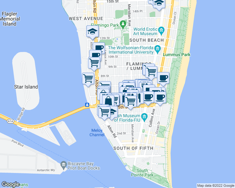 map of restaurants, bars, coffee shops, grocery stores, and more near 611 Michigan Avenue in Miami Beach