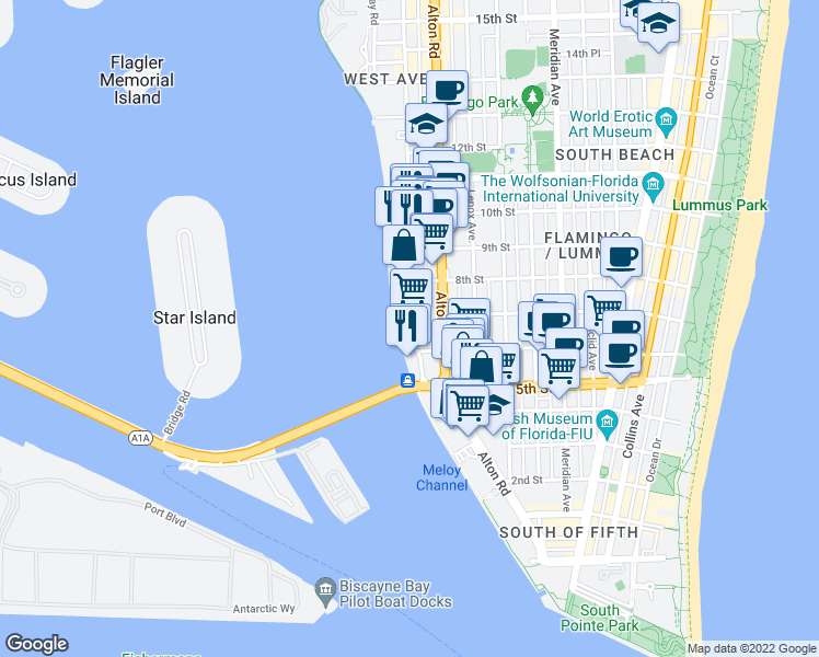 map of restaurants, bars, coffee shops, grocery stores, and more near 650 West Avenue in Miami