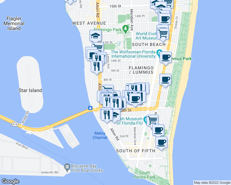 map of restaurants, bars, coffee shops, grocery stores, and more near 642 Michigan Avenue in Miami Beach