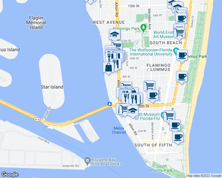map of restaurants, bars, coffee shops, grocery stores, and more near 520 West Avenue in Miami Beach