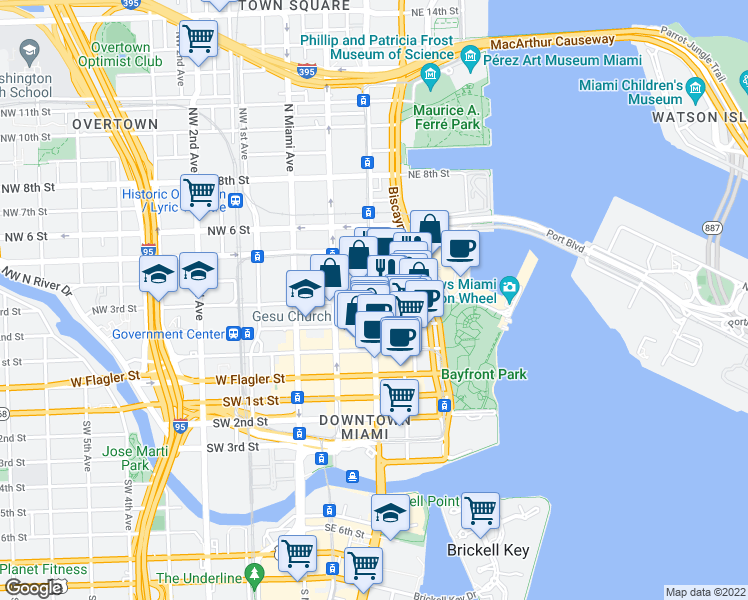 map of restaurants, bars, coffee shops, grocery stores, and more near Northeast 3rd Street in Miami