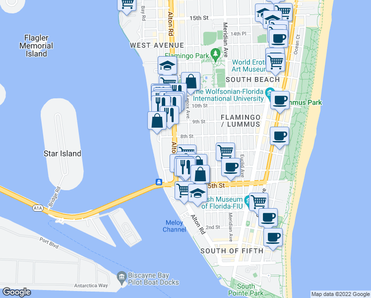 map of restaurants, bars, coffee shops, grocery stores, and more near 710 Lenox Avenue in Miami Beach
