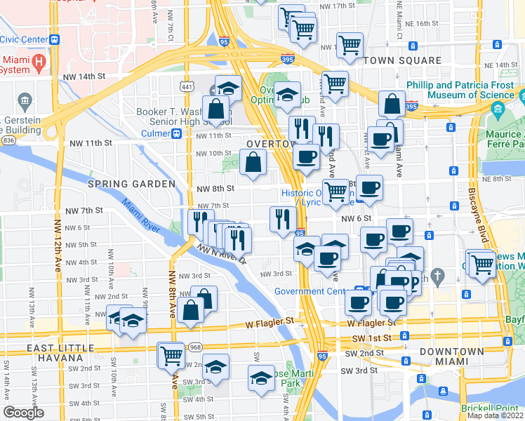 map of restaurants, bars, coffee shops, grocery stores, and more near 448 Northwest 7th Street in Miami
