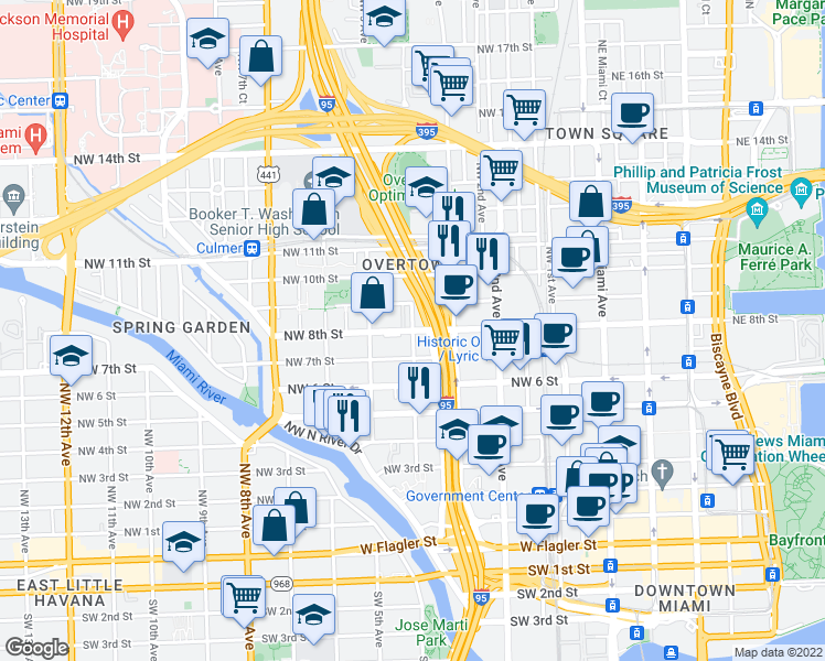 map of restaurants, bars, coffee shops, grocery stores, and more near NW 8th St & NW 4th Ave in Miami