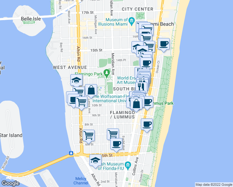 map of restaurants, bars, coffee shops, grocery stores, and more near 737 11th Street in Miami Beach