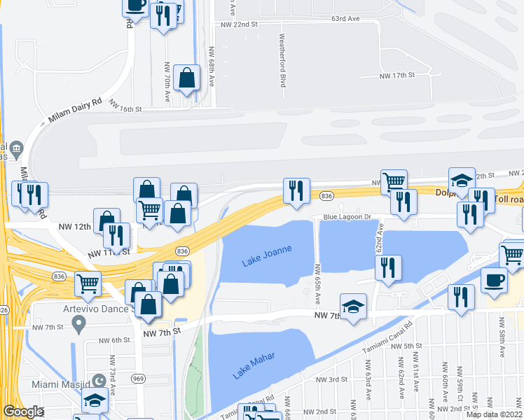 map of restaurants, bars, coffee shops, grocery stores, and more near Dolphin Expressway in Miami