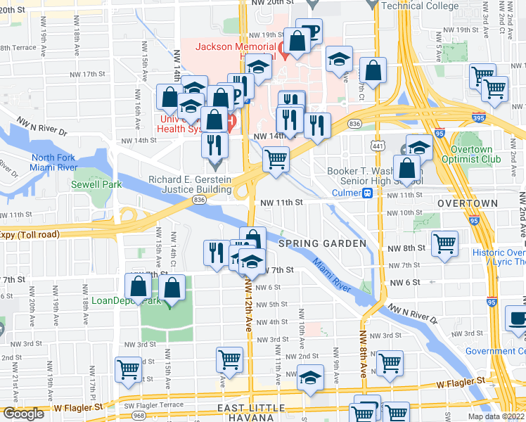 map of restaurants, bars, coffee shops, grocery stores, and more near 1170 Northwest 11th Street in Miami