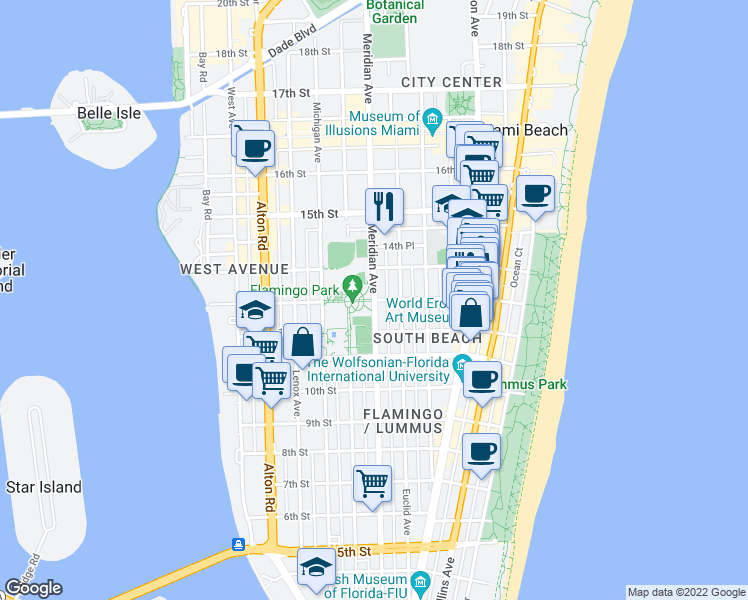 map of restaurants, bars, coffee shops, grocery stores, and more near 744 13th Street in Miami Beach