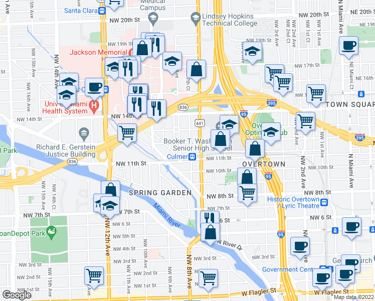 map of restaurants, bars, coffee shops, grocery stores, and more near 1146 Northwest 7th Court in Miami