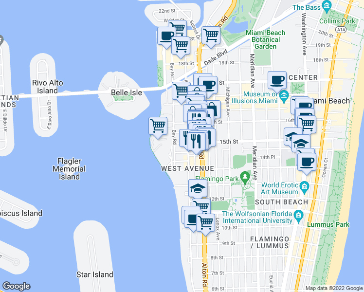 map of restaurants, bars, coffee shops, grocery stores, and more near 1320 15th Street in Miami Beach
