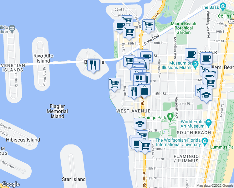 map of restaurants, bars, coffee shops, grocery stores, and more near Biscayne Bay Path in Miami Beach