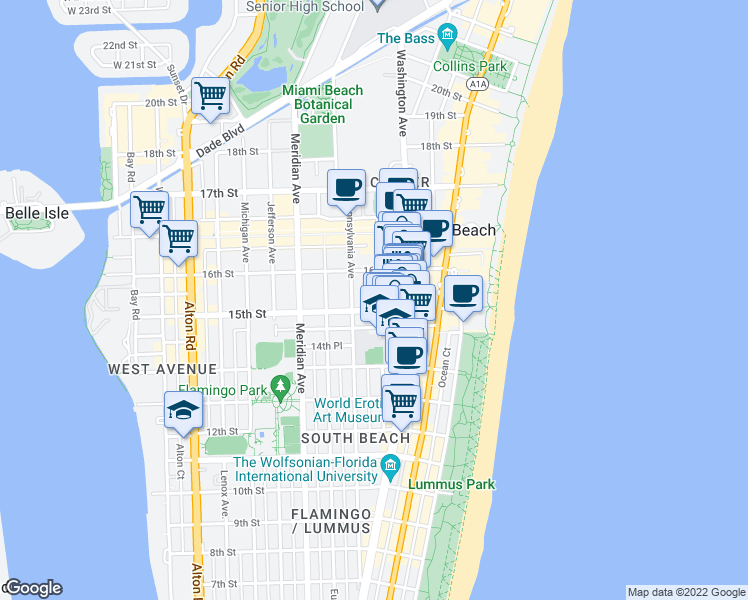 map of restaurants, bars, coffee shops, grocery stores, and more near 1518 Drexel Avenue in Miami Beach
