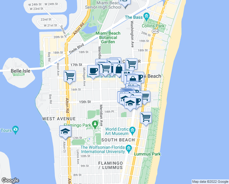 map of restaurants, bars, coffee shops, grocery stores, and more near 1568 Pennsylvania Avenue in Miami Beach
