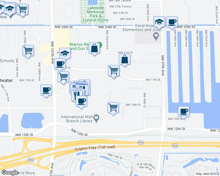 map of restaurants, bars, coffee shops, grocery stores, and more near Northwest 102nd Avenue in Doral