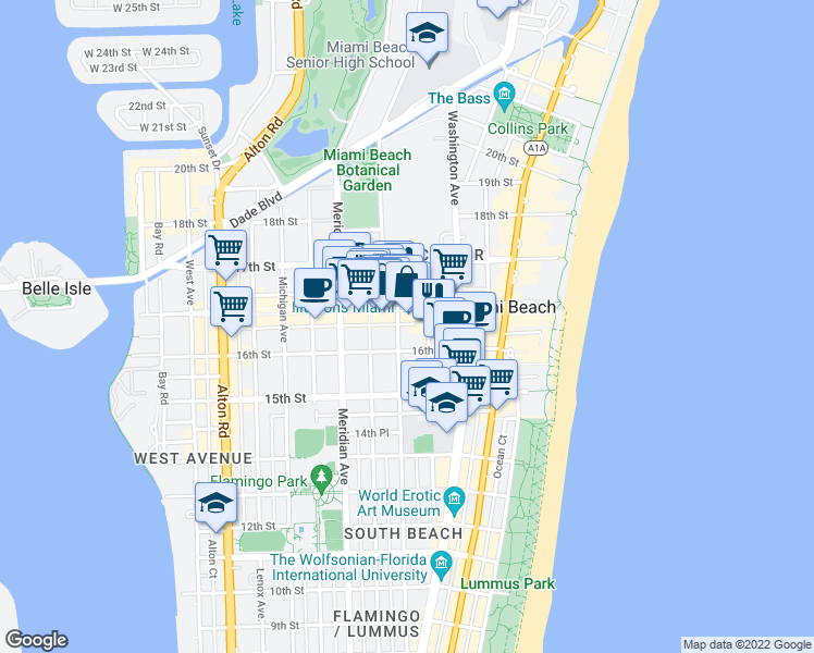 map of restaurants, bars, coffee shops, grocery stores, and more near 1621 Pennsylvania Avenue in Miami Beach