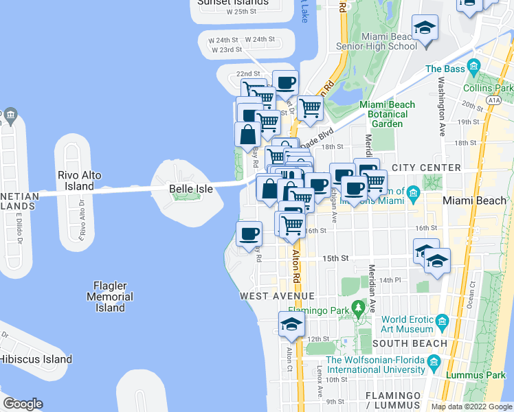 map of restaurants, bars, coffee shops, grocery stores, and more near Lincoln Rd & Bay Rd in Miami Beach