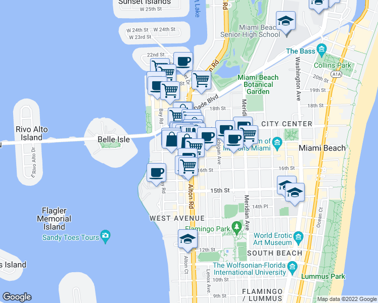 map of restaurants, bars, coffee shops, grocery stores, and more near 1132 Lincoln Road in Miami Beach