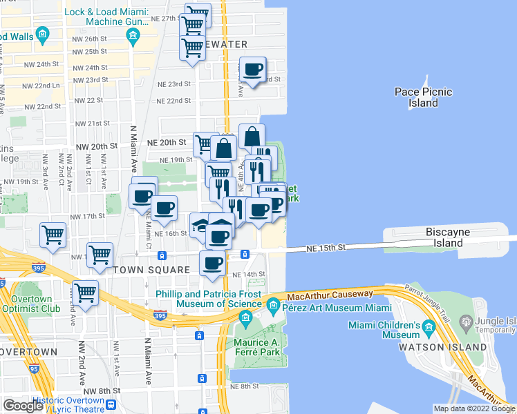 map of restaurants, bars, coffee shops, grocery stores, and more near North Bayshore Drive & Northeast 17th Terrace in Miami