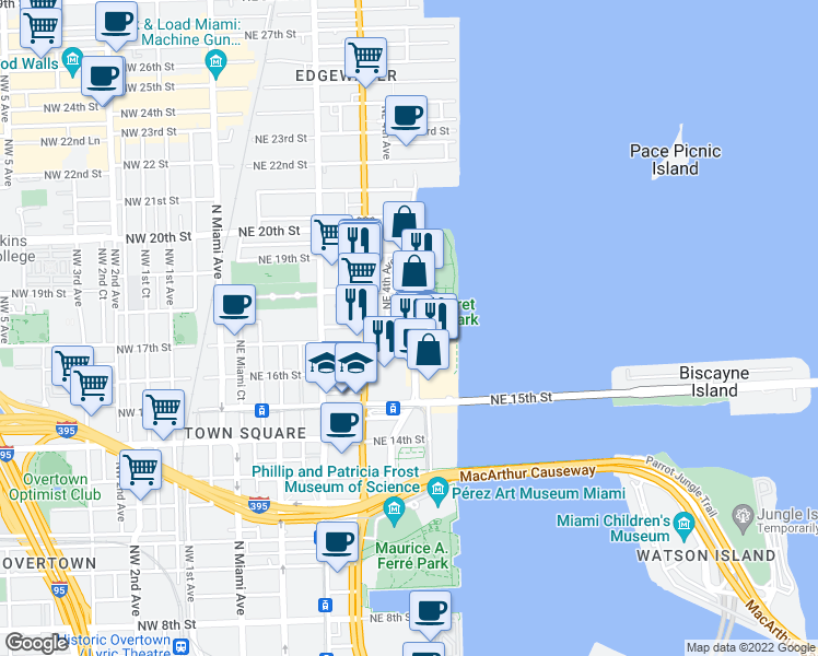 map of restaurants, bars, coffee shops, grocery stores, and more near None in Miami