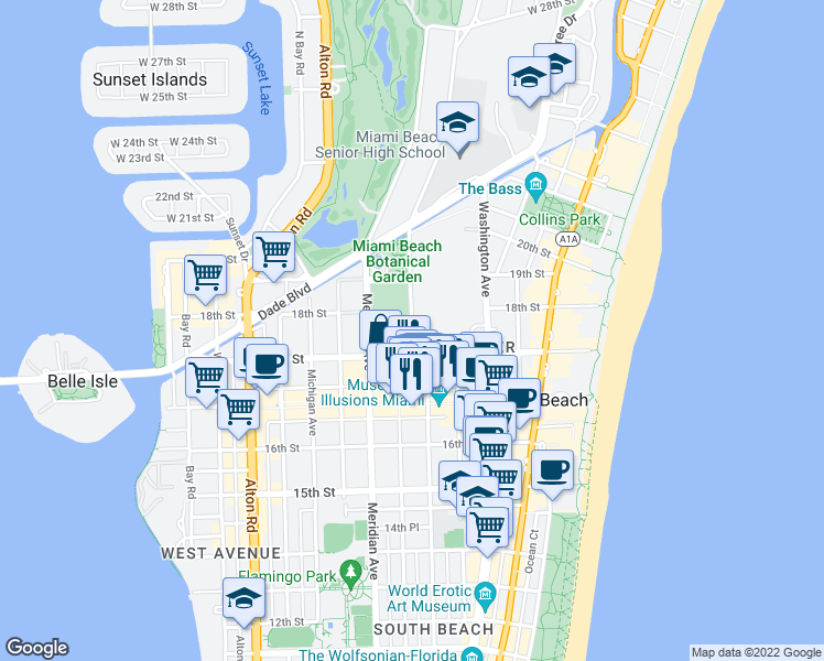 map of restaurants, bars, coffee shops, grocery stores, and more near 17th Street in Miami Beach